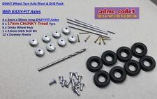 Dinky 8 Wheel Hubs & 17mm Block Tread Tyres 4 x Easy-Fit Axles ~12 Rivets +Drill