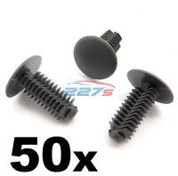50x Plastic Fir Tree Trim Clips- 8mm Hole, 18mm Head, Dark Grey- Perfect for VW