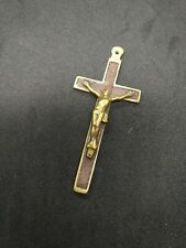 3 inch  Brass & Wood Inlay Pectoral Cross Crucifix Pendant Vintage
