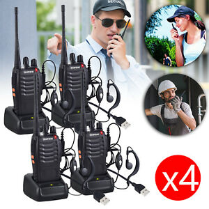 UK 4X Baofeng Walkie Talkie 2-Way BF-888S Radio Long Range 16CH UHF 400-470MHZ
