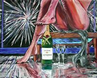 Champagne Babe Legs Original Art PAINTING DAN BYL Modern Contemporary Huge 4x5ft