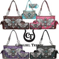 Western Style Cross Studded Wings Concealed Carry Purse Bag Women Handbag Wallet
