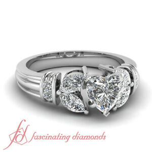 1.50 Carat Diamond Rings With Center Natural Heart Shaped In 14K White Gold GIA