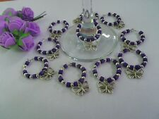 """60 Cadbury Purple Wine Glass charms with """"butterfly charm - great Wedding Favour"""