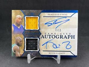 2020 ITG SPORTS SHAQUILLE O'NEAL KEVIN GARNETT NAVY BLUE DUAL PATCH AUTO 07/12