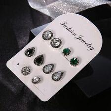 5 Pairs/Set Cubic Zirconia Water Drop Green Black Gemstones Stud Earrings