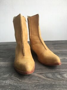 JIM BARNIER Leather Boots Tan Suede Lace-Back Mid-Rise Shoes Women USA 8.5