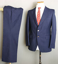VINTAGE 60S MOD SUIT 38R 32W 31L NAVY DOTTED PINSTRIPE WOOL