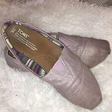 TOMS Women's Size 9 Lavender Shimmery Purple Classic Canvas Flats Slip On Shoes