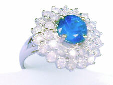3.18ct Ceylan saphir et diamant Bague 14k Or Blanc