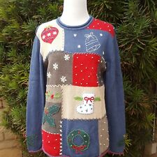 Ugly Christmas Sweater Cherokee S Patchwork Embroidered Bell Stocking Holly