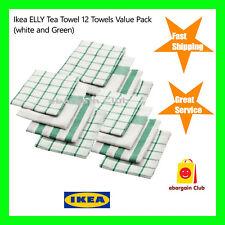 12 x IKEA ELLY 100% Cotton Tea Towel Bulk Value Pack White & Green 50cmx65cm eBC