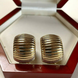 VINTAGE JEWELLERY SIGNED CHRISTIAN DIOR GOLD PLATED RIBBED CLIP ON EARRINGS