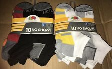 (2) NEW Fruit Of The Loom Boys' No Show Socks 10 Packs, Size 3-9 (20 pairs)