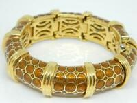 JUDITH LEIBER Shiny Brown Enamel Gold Tone Adjustable Panel Bracelet