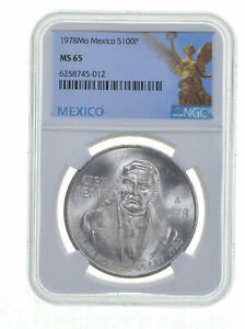 1978 MEXICO Silver 100 PESOS S100P NGC MS 65 LUSTER GEM BU *0375