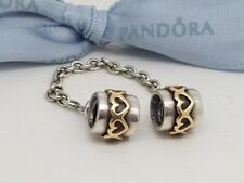 Authentic Pandora Two Tone Silver & 14k Gold Hearts Safety Chain 790307 Retired