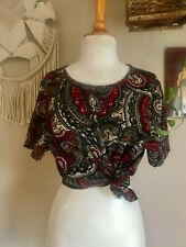 80s-90s women's vintage abstract printed shell top boho hippie minimalist size S