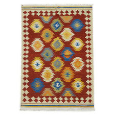 New Original Afghan Kilim Rug Hand Woven 4'x6' Natural Wool Carpet Kelim 120x180