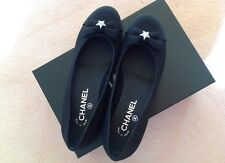 CHANEL Leather Crepe Swarovki Crystal Stars CC Stitched Ballerina Shoes 38.5