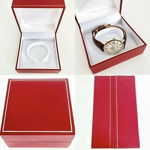 CLASSIC SNAP SHUT RED WATCH BOX FOR OMEGA, CARTIER, ROLEX, LONGINES, SEIKO