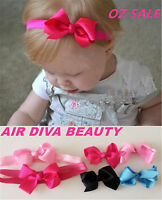 Girl Baby Kids Adorable Cute Ribbon hair Bow Clip or Elastic Hair Headband PROP