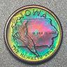 IOWA Proof Franklin Mint Sterling Silver Mini Coin - Rainbow Toning