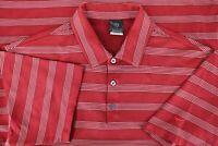 Nike Golf Dri Fit UV Golf Polo Men's Large L Short Sleeve Golf Shirt Red Striped