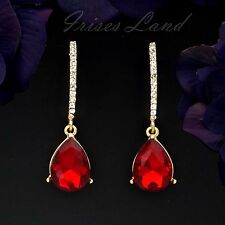 18K Gold Plated GP Red Crystal Rhinestone Drop Dangle Earrings 08640 Party Prom