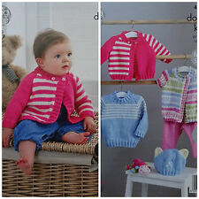 KNITTING PATTERN Baby Long Sleeve Striped Jumper & Cardigans King Cole DK 4806
