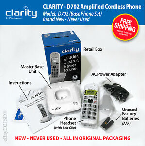 NEW • Clarity D702 DECT 6.0 Cordless Phone • White • Base Set • FREE SHIP