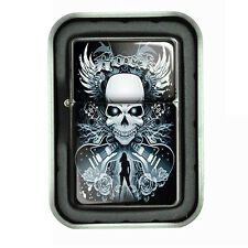 Windproof Refillable Oil Lighter with Tin Box Skull Design-003