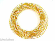 40 x Thin Glittery Gold Tone Bangle Bracelet Inter linked Russian Style