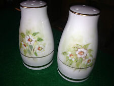 Vintage Ceramic Salt and  Pepper  Shakers with daisy flower theme and gold trims