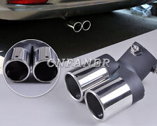 TWIN DUAL EXHAUST TIP TAIL MUFFLER STAINLESS STEEL PIPE Universal End < 58mm