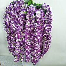 5Pcs Hanging Wall Artificial Fake Orchid Flower Rattan Plant Basket