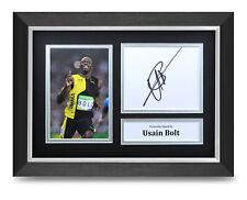 Usain Bolt Signed A4 Framed Photo Display Olympics Autograph Memorabilia COA