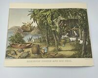 Currier And Ives 1970 Vtg Travelers Insurance Robinson Caruso And His Pets Print