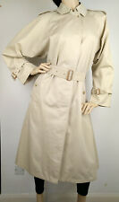 Burberry Trench Coat Womens Beige Vintage England Made Size 12
