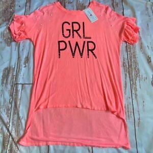 Kandy Kiss Girls hi-lo short sleeve shirt-orange-size Large-NWT