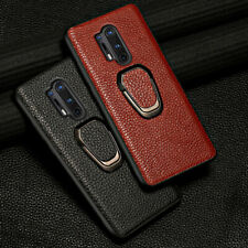 Genuine Litchi Grain Leather Magnetic Ring Holder Case for Oneplus 8T 8 Pro 6T 7