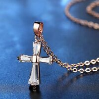 Fashion Women Rose Gold Cross Shape Rhinestone Crystal Pendant Necklace Wedding