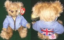 "TY Attic Treasure ""TUDOR"" UK Flag Teddy Bear PLUSH #6600 RED Tag MWMT Retired"