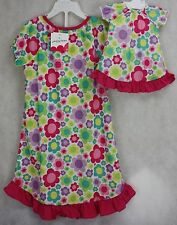 Jumping Beans White Floral Girls Nightgown & Matching Doll Nightgown Size 5 NWT