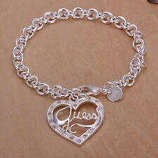 New WOMEN 925 STERLING SILVER FILLED Bracelet GUESS Heart Pendant Chain Bracelet