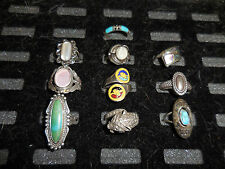 TEN  .925 STERLING SILVER RINGS  DIFFERENT SIZES & MOUNTS