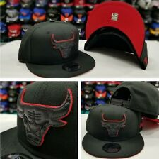 Exclusive New Era NBA BLACK With RED Outline Chicago Bulls 9Fifty Snapback Hat