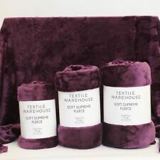 Textile Warehouse Super Soft Large Sofa Bed Faux Fur Mink Fleece Blanket Throw Purple King
