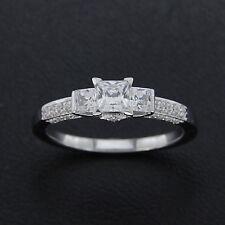 Princess Cut Diamond Engagement Wedding Ring Solid 10k White Gold Fn Three Stone