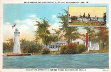 Snug Harbor and Light House in Conneat Lake in Pennsylvania Antique PostcardL555